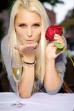 Blow kiss. Young woman sending a romantic blow kiss Stock Photos