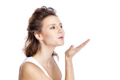 Blow kiss, young caucasian brunette woman Royalty Free Stock Image