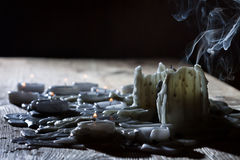 Blow off candels with smoke Royalty Free Stock Images