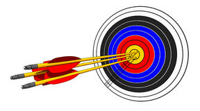 The blow went home. To shoot an arrows at target Royalty Free Stock Photography