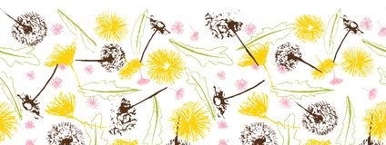 Blowballs одуванчиков вектора свежие ретро флористические и граница маргариток безшовная иллюстрация штока