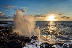 Blowhole på den steniga kustlinjen Fotografering för Bildbyråer
