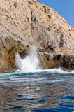 Blowhole on rugged coastline Royalty Free Stock Photography