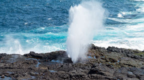 Blowhole at Suarez Point on Galapagos Stock Photo