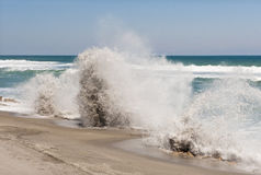 Blowholes on beach Stock Images