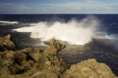 The Blowholes, Tonga. The spectacular blowholes where ocean water is pushed through holes in the rocks to form geysers, on the coast of Tongatapu, Tonga stock photos