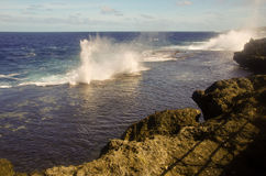 The Blowholes, Tonga. The spectacular blowholes where ocean water is pushed through holes in the rocks to form geysers, on the coast of Tongatapu, Tonga royalty free stock images