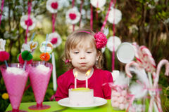 Blowing  birthday candles Stock Image