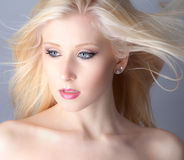 Blowing Blonde Hair royalty free stock images