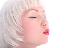 Blowing blondie Stock Images