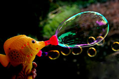 BLOWING BUBBLES. A bubble blower is blowing shiny colorful bubbles Stock Image