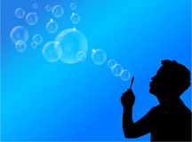 Blowing bubbles illustration Stock Photography