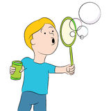 Blowing Bubbles Kid Stock Photo