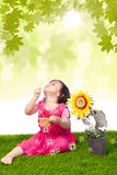 Blowing bubbles vertical Royalty Free Stock Images