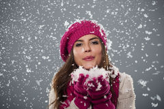 Blowing christmas snow Royalty Free Stock Photo