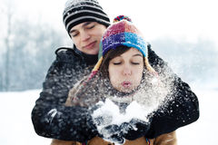 Blowing Christmas wishes. Winter collection: blowing Christmas wishes Royalty Free Stock Image