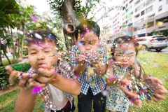 Blowing confetti Royalty Free Stock Photography