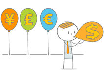 Blowing Currency Symbol Balloon Stock Photos