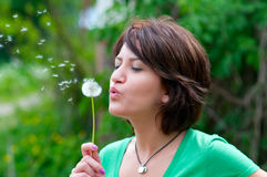 Blowing a dandelion. Woman blowing a dandelion with a green background royalty free stock images