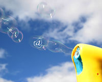 Blowing e-mails Royalty Free Stock Photo