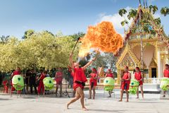 Blowing Fireball for 250th anniversary King Taksin the Great royalty free stock photo