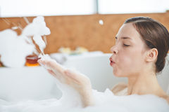 Blowing foam Royalty Free Stock Images