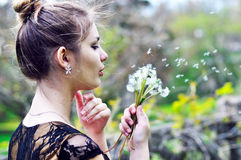 Blowing girl Stock Photography