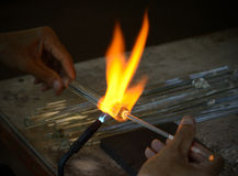 Blowing glass. Royalty Free Stock Photography