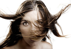Blowing hair Stock Images