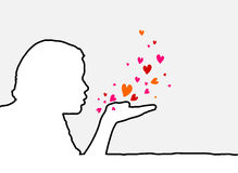 Blowing Hearts. Single line human profile and hearts Stock Images