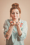 Blowing hearts and kisses. Retro colors Stock Photos