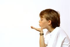 Blowing a kiss Royalty Free Stock Image