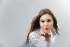 Blowing a kiss Stock Image