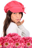 Blowing kiss and flowers Royalty Free Stock Photography