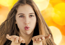 Blowing a kiss Royalty Free Stock Photos