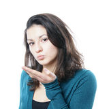 Blowing a kiss Royalty Free Stock Photo