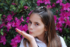 Blowing kisses Royalty Free Stock Image