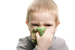 Blowing nose. Human child cold flu illness tissue blowing nose Royalty Free Stock Images