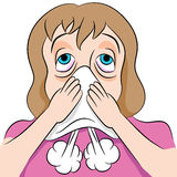 Blowing Nose Woman stock illustration