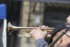Blowing one's trumpet royalty free stock photography