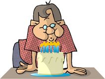 Blowing out the candles royalty free illustration