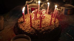 Blowing Out The Candles On Birthday Cake Stock Footage