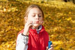 Blowing out soap bubbles Royalty Free Stock Photo