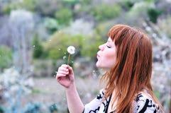 Blowing redheaded teen. Pretty redheaded teen girl blowing on dandelion stock image
