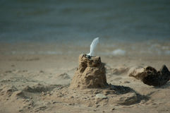 Blowing sand castle. A sea gull feather crowns the top of this simple sand castle on a windy beach near lake michigan stock images