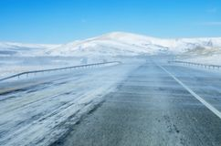 Blowing Snow On Highway royalty free stock photography