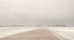 Blowing Snow On Highway Royalty Free Stock Image