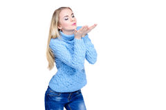 Blowing on a snow royalty free stock photo
