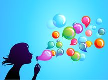 Blowing soap bubbles - 1. Young girl blowing soap bubbles Stock Photo
