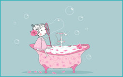 Blowing soap bubbles stock illustration